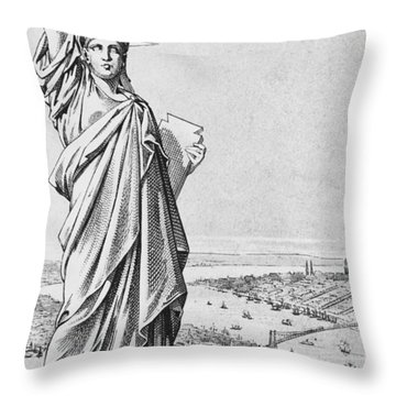 The Statue Of Liberty New York Throw Pillow by American School