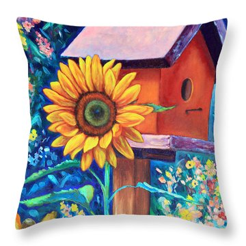 The Sunflower Suite Throw Pillow by Eve  Wheeler