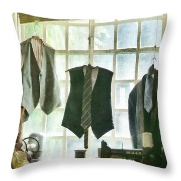 The Tailor Shop Throw Pillow by Steve Taylor