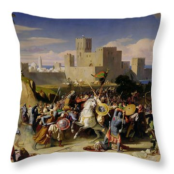 The Taking Of Beirut By The Crusaders Throw Pillow by Alexandre Jean Baptiste Hesse