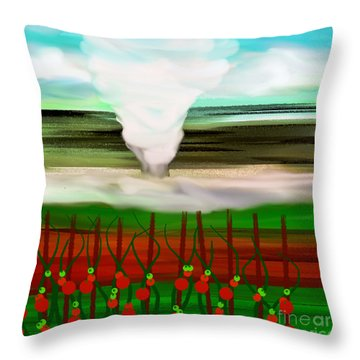 The Tomatoes And The Tornado Throw Pillow by Andee Design
