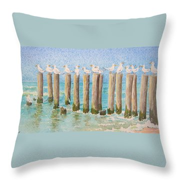 The Town Meeting Throw Pillow by Mary Ellen Mueller Legault