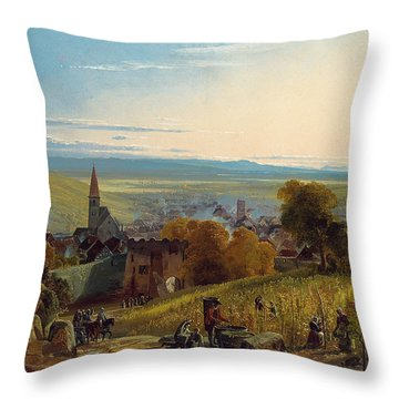 The Travellers Throw Pillow by Christian Ernst Bernhard Morgenstern