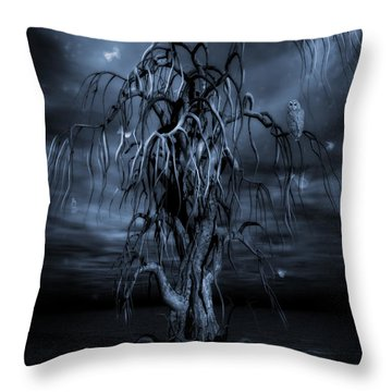 The Tree Of Sawols Cyanotype Throw Pillow by John Edwards