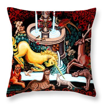 The Unicorn Purifies The Water Throw Pillow by Genevieve Esson