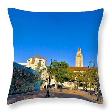The University Of Texas Tower Throw Pillow by Kristina Deane