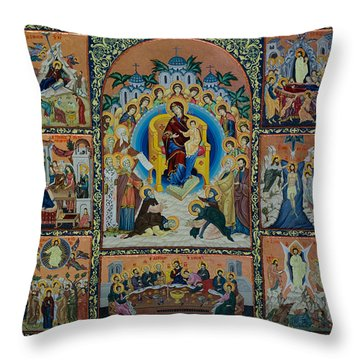 The Virgin Mary With Angels Throw Pillow by Claud Religious Art