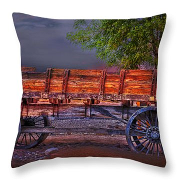 The Wagon Throw Pillow by Gunter Nezhoda