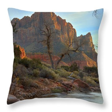 The Watchman In Winter-3 Throw Pillow by Alan Vance Ley