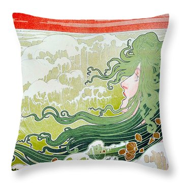 The Wave Throw Pillow by Henri Pivat Livemont