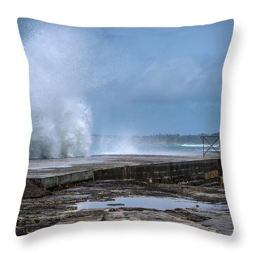Throw Pillow featuring the photograph The Wave by Thierry Bouriat