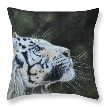 The White Tiger And The Butterfly Throw Pillow by Louise Charles-Saarikoski