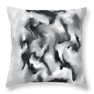 The Witch With Her Crows Charcoal Wash Throw Pillow by Sir Josef - Social Critic - ART
