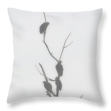Their Waiting Four Black Vultures In Dead Tree Throw Pillow by Chris Flees
