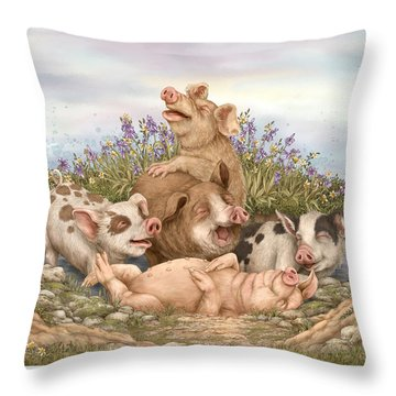 Think Happy Throw Pillow by Beverly Levi-Parker