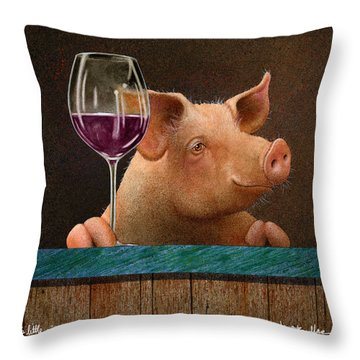 This Little Piggy Went Wine Tasting... Throw Pillow by Will Bullas