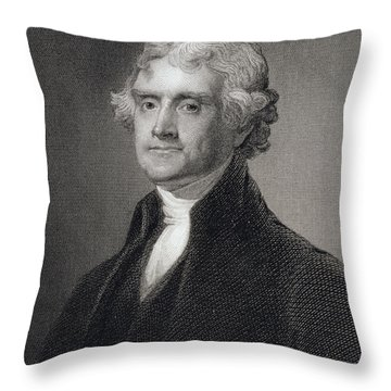 Thomas Jefferson Throw Pillow by Gilbert Stuart