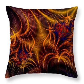 Thornweb In Amberorange  Throw Pillow by Ann Stretton