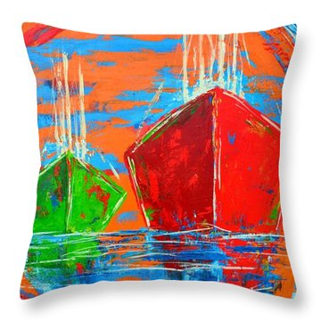 Three Boats Sailing In The Ocean Throw Pillow by Patricia Awapara