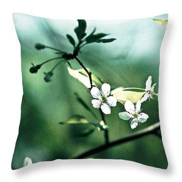 Three Cherry Flowers - Featured 3 Throw Pillow by Alexander Senin
