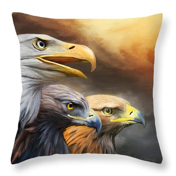 Three Eagles Throw Pillow by Carol Cavalaris