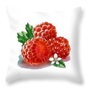 Three Happy Raspberries Throw Pillow by Irina Sztukowski