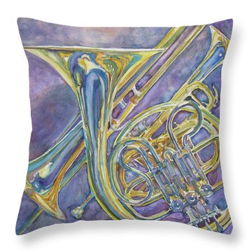 Three Horns Throw Pillow by Jenny Armitage