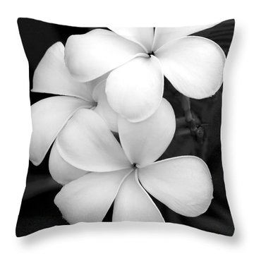 Three Plumeria Flowers In Black And White Throw Pillow by Sabrina L Ryan