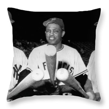 Three Slugging Outfielders Throw Pillow by Underwood Archives