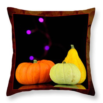 Three Small Pumpkins Throw Pillow by Toppart Sweden