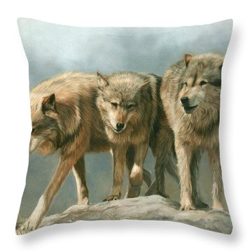 Three Wolves Throw Pillow by David Stribbling