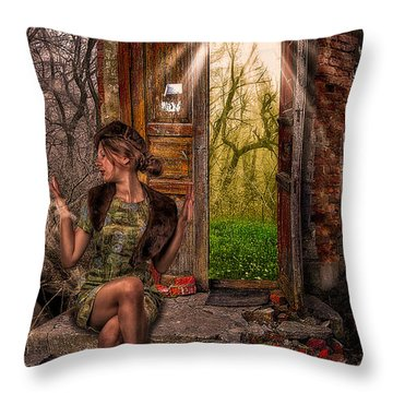 Through The Forest Door Throw Pillow by Erik Brede