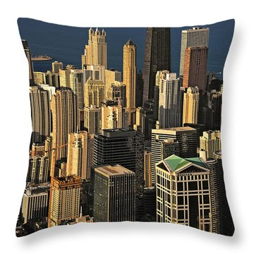 Through The Haze Chicago Shines Throw Pillow by Christine Till
