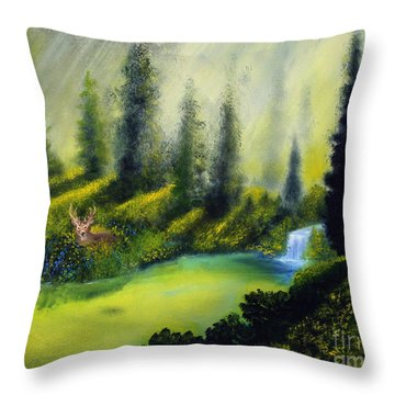 Through The Trees Throw Pillow by David Kacey