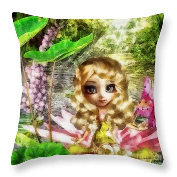 Thumbelina Throw Pillow by Mo T