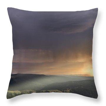 Thunder Shower And Lightning Over Teton Valley Throw Pillow by Leland D Howard