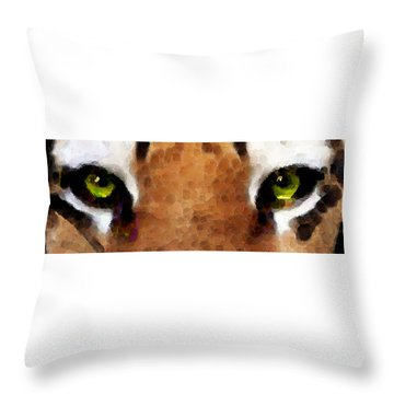 Tiger Art - Hungry Eyes Throw Pillow by Sharon Cummings