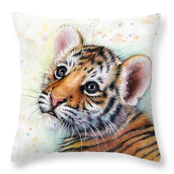 Tiger Cub Watercolor Art Throw Pillow by Olga Shvartsur