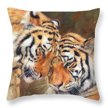 Tiger Love Throw Pillow by David Stribbling
