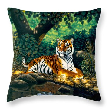 Tiger Throw Pillow by MGL Studio - Chris Hiett