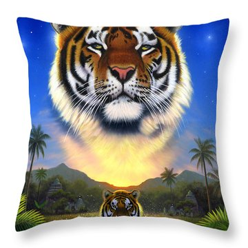 Tiger Of The Lake Throw Pillow by Chris Heitt