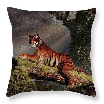 Tiger On A Log Throw Pillow by Daniel Eskridge