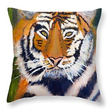Tiger Throw Pillow by Pamela  Meredith
