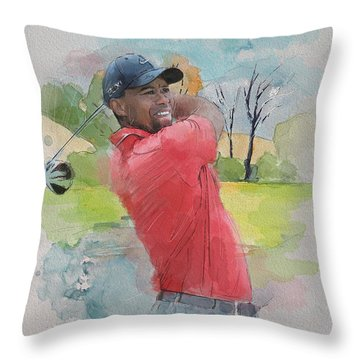 Tiger Woods Throw Pillow by Catf