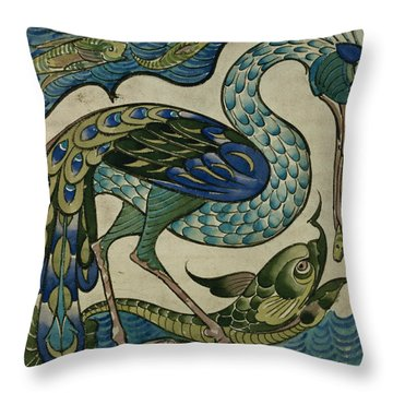 Tile Design Of Heron And Fish Throw Pillow by Walter Crane