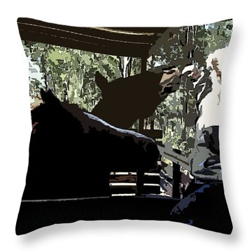 Time For Treats At The Run In Shed Throw Pillow by George Pedro