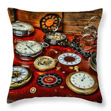 Time - Pocket Watches  Throw Pillow by Paul Ward