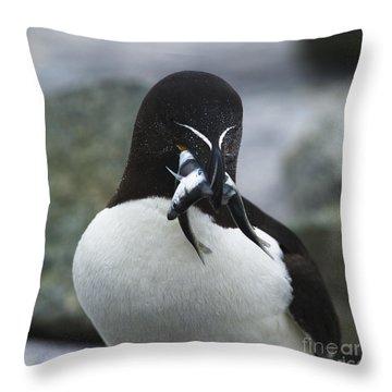 Feeding Time... Throw Pillow by Nina Stavlund