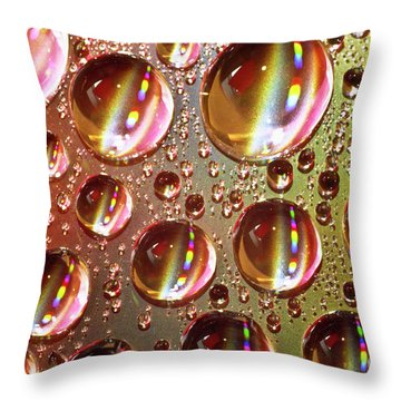 Tiny Water Beads And Spectrum Colors Throw Pillow by Heiko Koehrer-Wagner