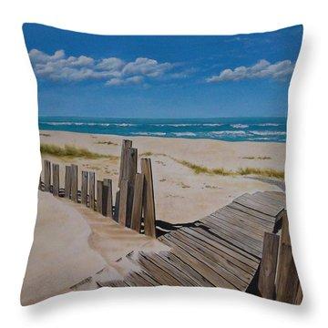 To The Beach Throw Pillow by Paul Bennett